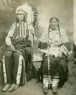 An old photograph of a Southern Cheyenne Couple 1910.