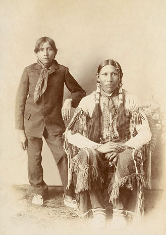 An old photograph of a Southern Cheyenne Father and Son 1900.
