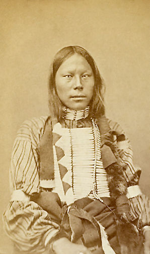 An old photograph of a Southern Cheyenne Man 1868.
