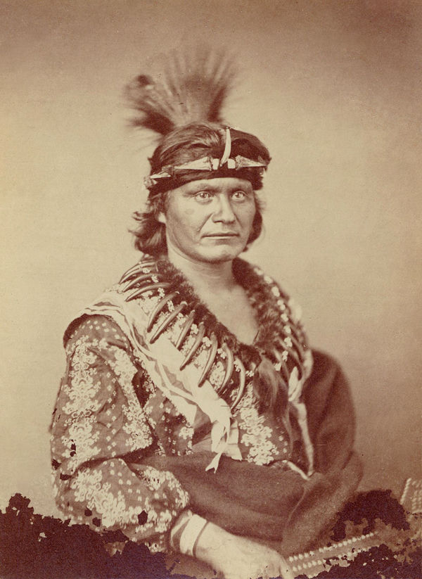 An old photograph of a Winnebago Chief 1858.