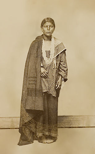 An old photograph of a Winnebago Woman c1868.