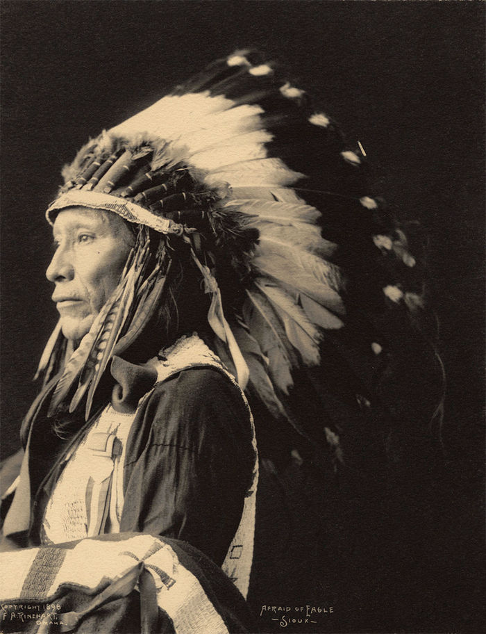 An old photograph of Afraid Of Eagle - Sioux 1896.