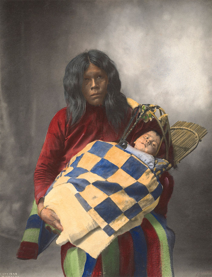 An old photograph of Ahahe and Child - Wichita 1898 [Colorized].