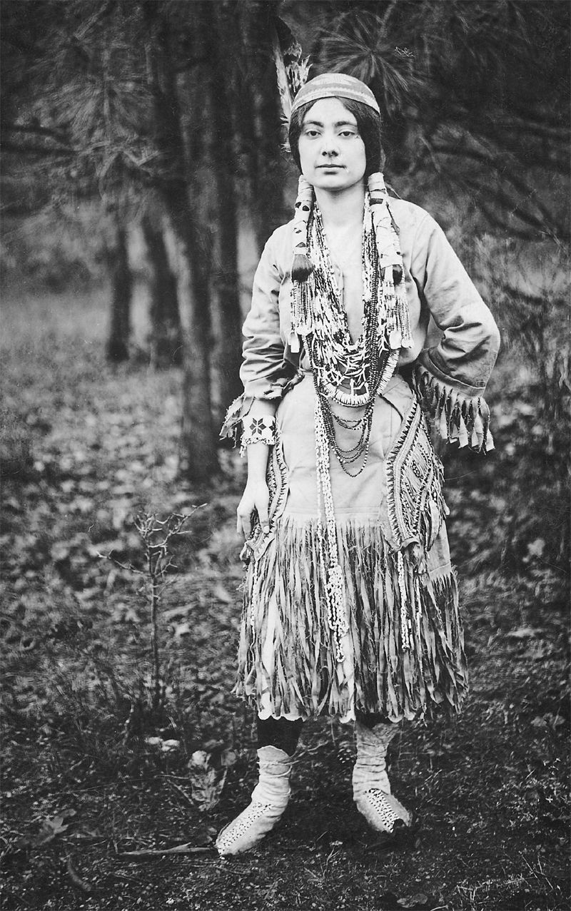 An old photograph of an Indian Maiden in Traditional Dress.