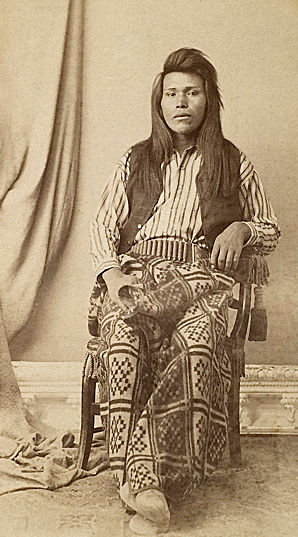 An old photograph of an Unidentified Bannock or Shoshone Man 1878.