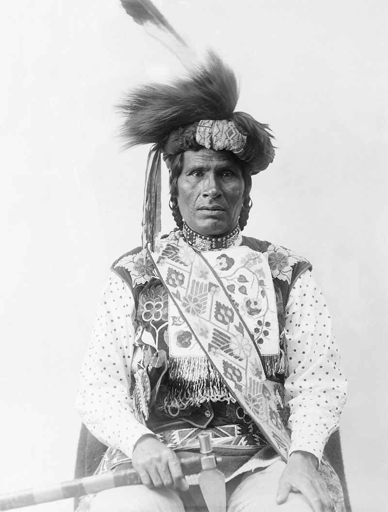 An old photograph of an Unidentified Chippewa Indian.