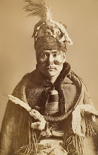 An old photograph of an Unidentified Nuxalk Bella Coola Man 1885 [A].
