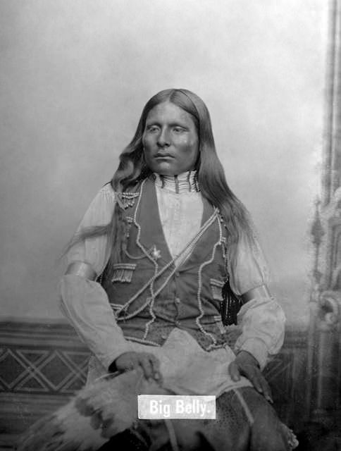 An old photograph of Big Belly - Southern Cheyenne 1880.