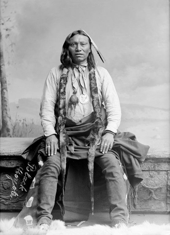 An old photograph of Black Coyote - Southern Cheyenne 1891.