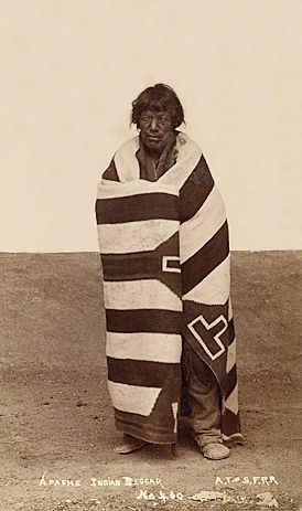 An old photograph of Blind Apache Indian Beggar.