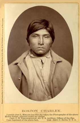 An old photograph of Boston Charley - Modoc 1873.