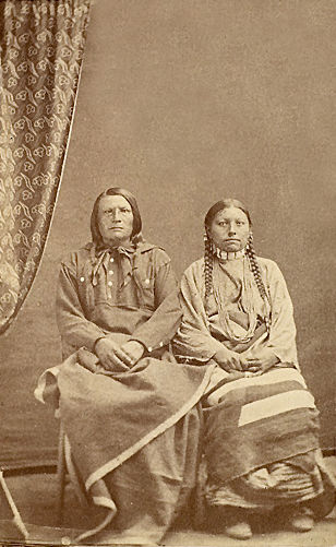 An old photograph of Brave Eagle and Wife - Lakota c1870.