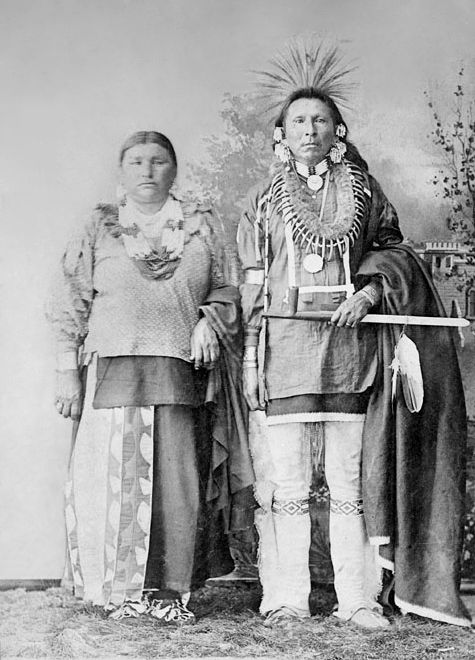 An old photograph of the Brother of John Pipestem with Wife - Otoe 1906.