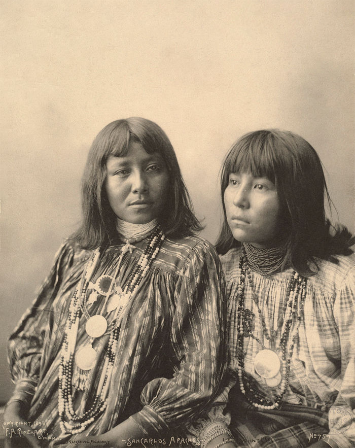 An old photograph of Brushing Against with Little Squint Eyes - San Carlos Apaches 1898.