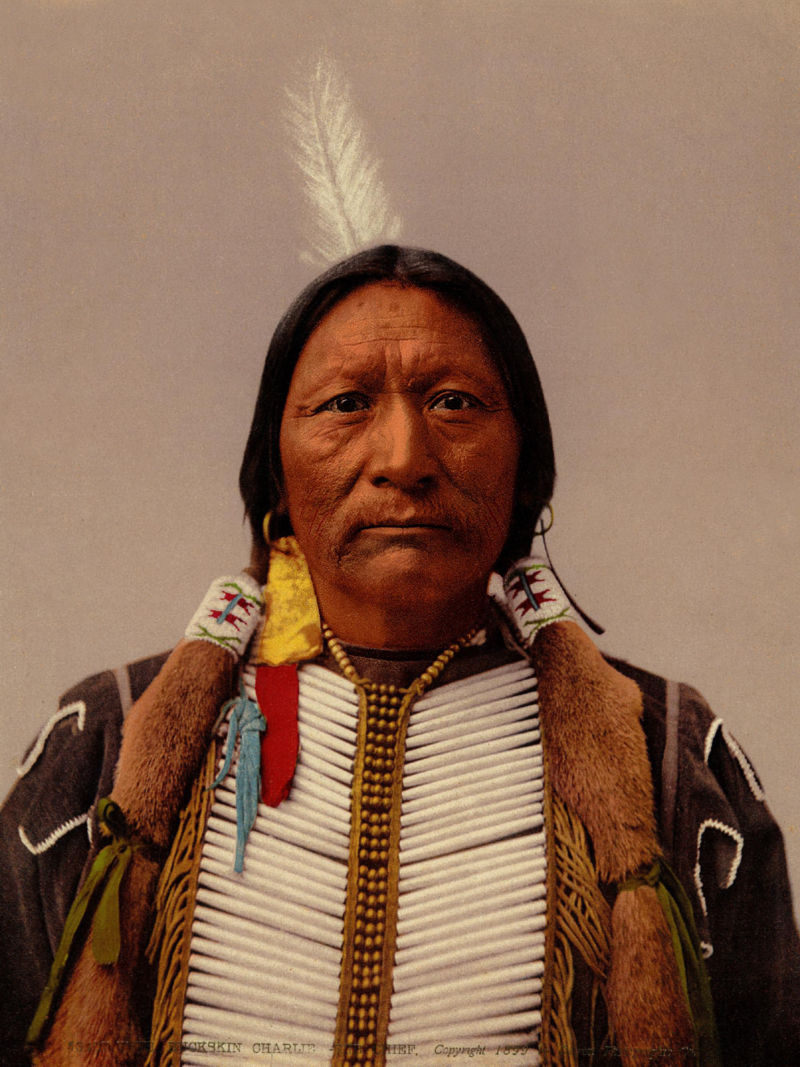 An old photograph of Buckskin Charlie - Ute Sub Chief 1899 [Colorized].