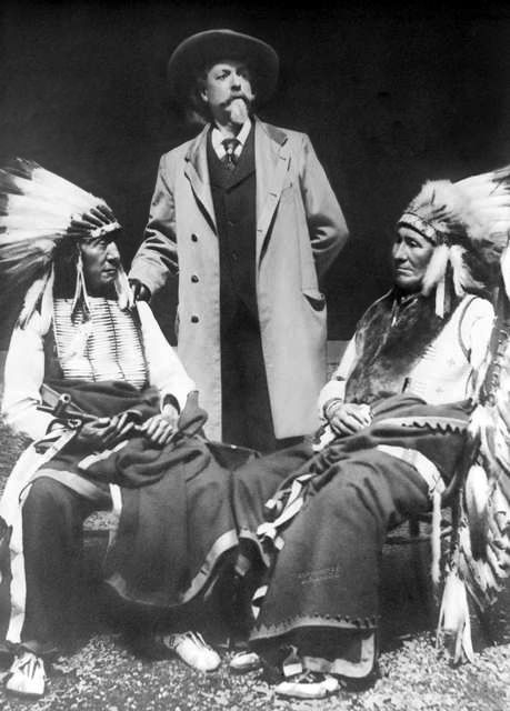 An old photograph of Buffalo Bill with Red Cloud and American Horse - Dakota Sioux.