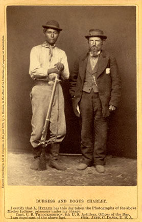 An old photograph of Burgess and Bogus Charley - Modoc 1873.