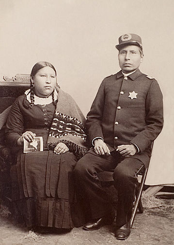 An old photograph of Capt George Sword and Wife - Oglala.