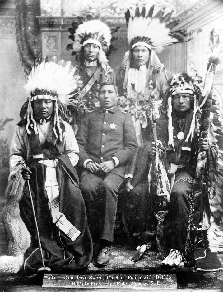 An old photograph of Capt George Sword in Uniform - Oglala 1891.