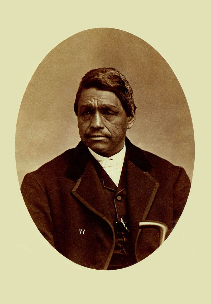 An old photograph of Captain Scraper - Mixed-Blood Cherokee 1868.