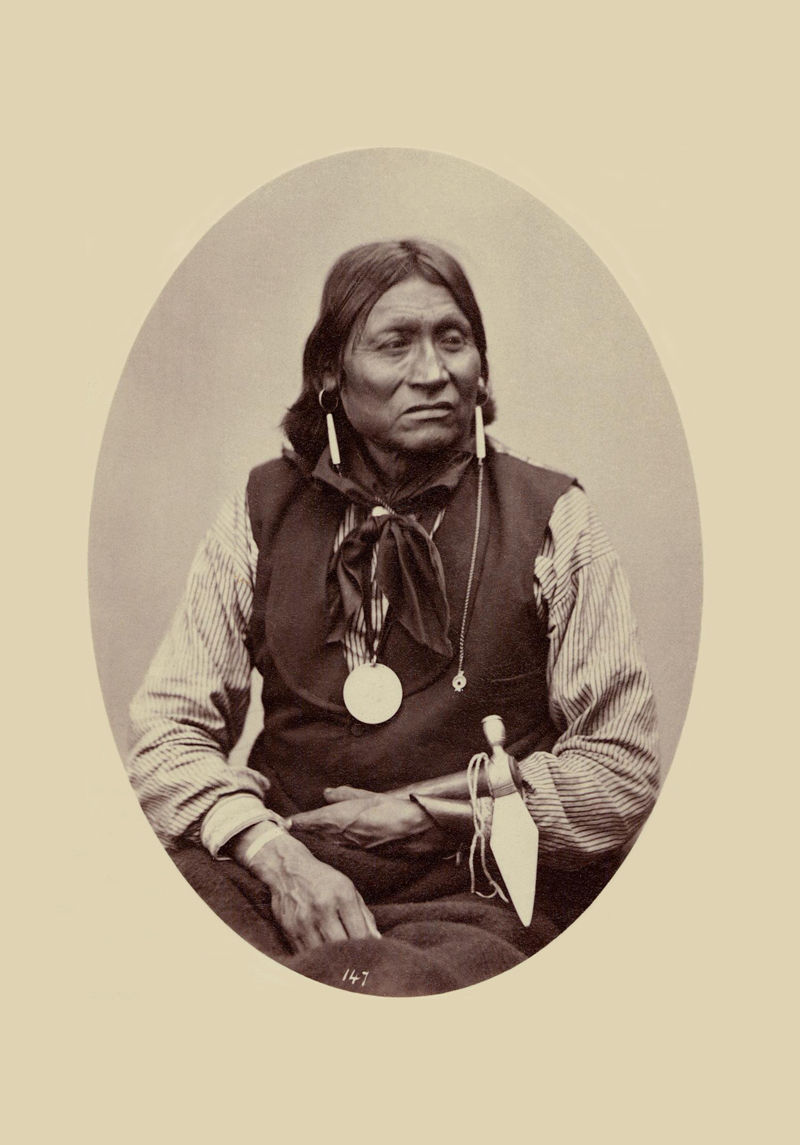 An old photograph of Chewing Elk aka Quirts-quip - Comanche 1872 [A].