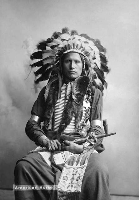 An old photograph of Chief American Horse - Oglala Sioux.