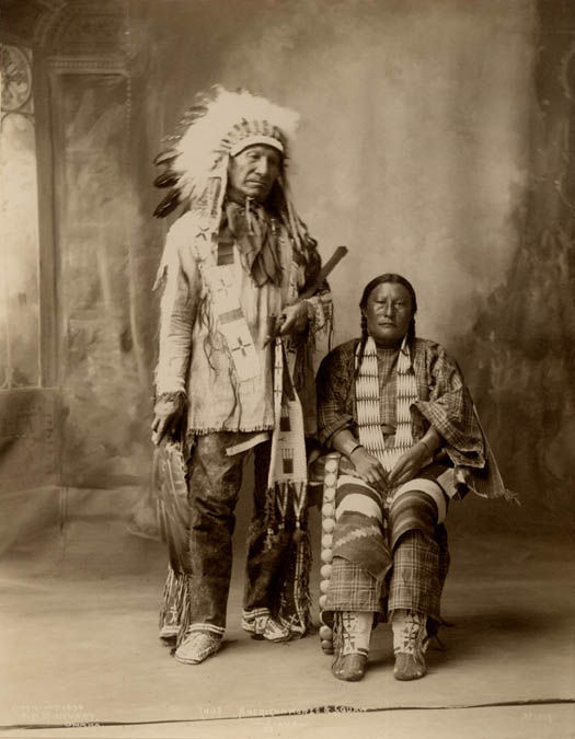 An old photograph of Chief American Horse and Wife - Oglala Sioux 1898.