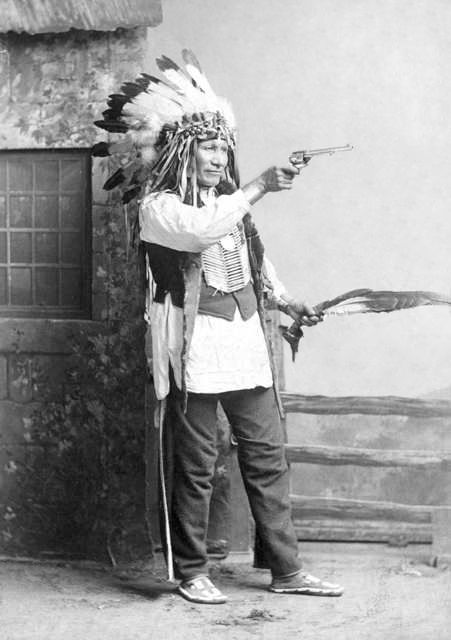 An old photograph of Chief American Horse as he Poses For a Full-Length Portrait - Oglala Sioux.