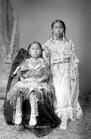 An old photograph of Chief Big Tree's Daughters.