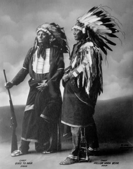 An old photograph of Chief Goes To War with Chief Hollow Horn Bear - Sioux 1898 [A].