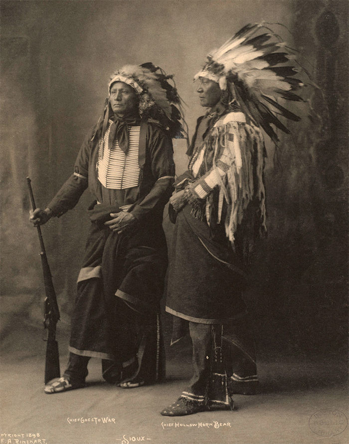An old photograph of Chief Goes To War with Chief Hollow Horn Bear - Sioux 1898 [AA].