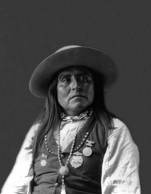 An old photograph of Chief Josh - San Carlos Apache 1898.
