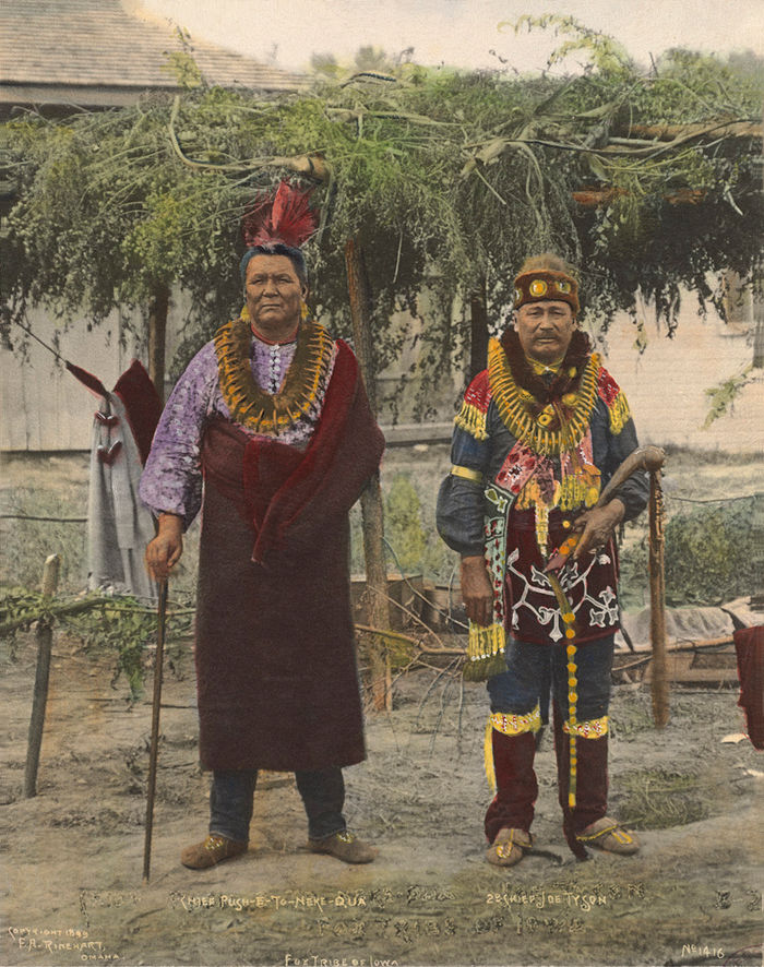 An old photograph of Chief Push-E-To-Neke-Qua with Chief Joe Tyson - Fox Tribe of Iowa 1899 [Colorized].