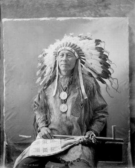 An old photograph of Chief Stranger Horse aka Tasuke-Tokeca - Sicangu Lakota.