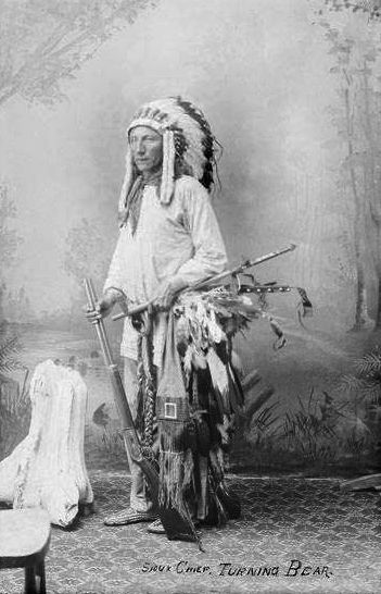 An old photograph of Chief Turning Bear - Sioux.