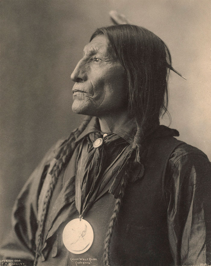 An old photograph of Chief Wolf Robe - Cheyenne 1898.
