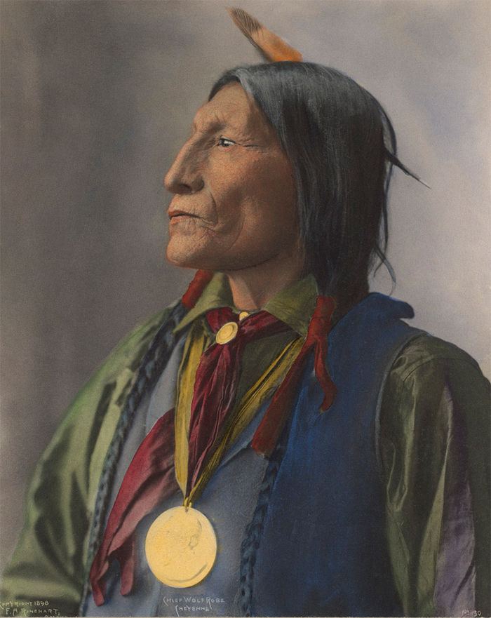 An old photograph of Chief Wolf Robe - Cheyenne 1898 [Colorized].