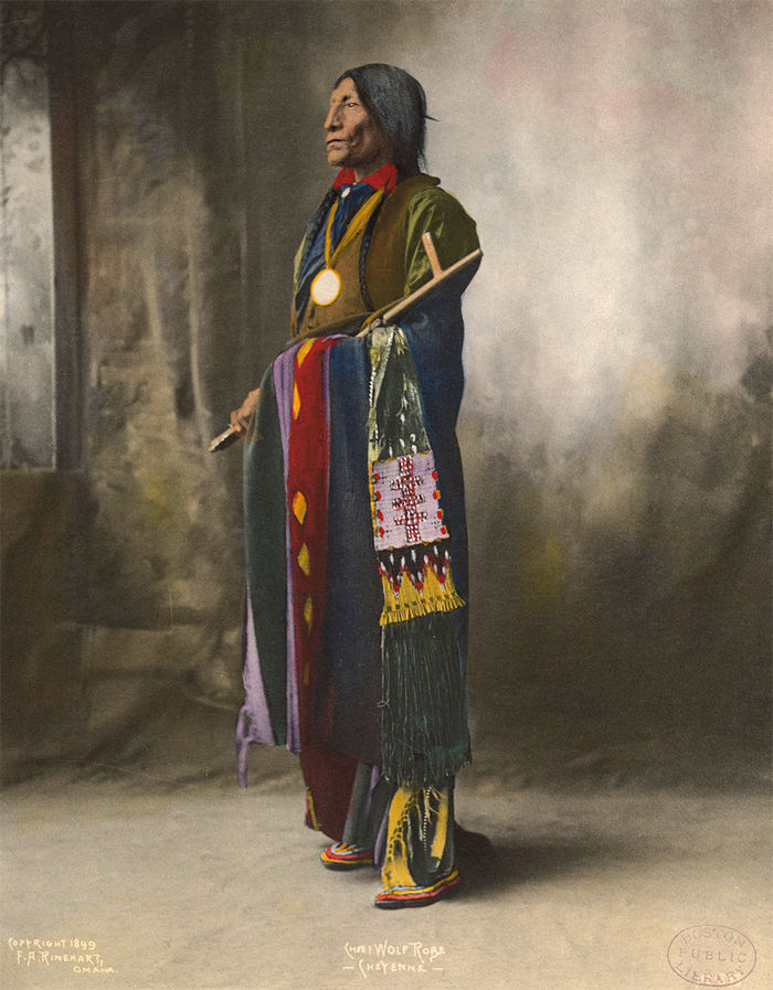An old photograph of Chief Wolf Robe - Cheyenne 1899 [Colorized].