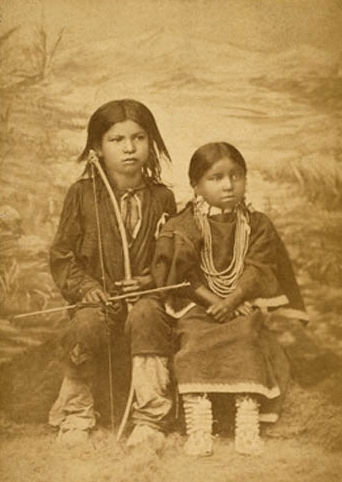 An old photograph of the Children of the Northern Cheyenne Chief, Two Moons.