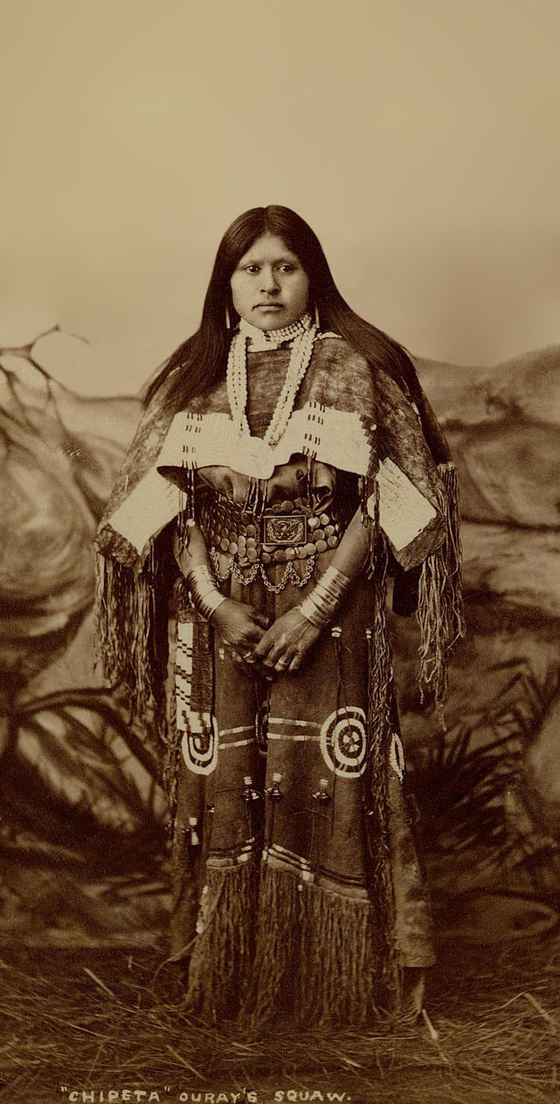 An old photograph of the Chipita aka Chipeta, Ouray's Squaw 1882.