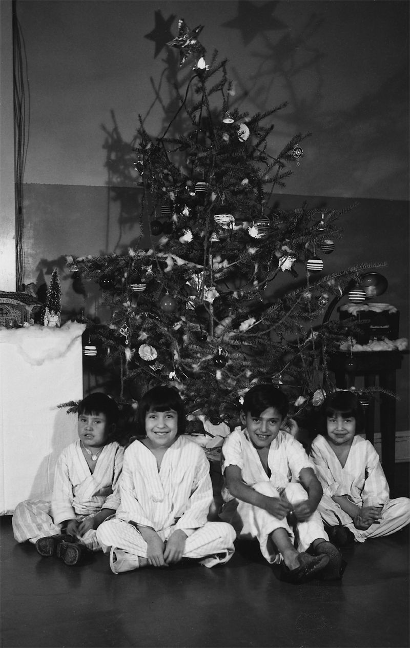 An old photograph of Christmas at Rosebud Indian Hospital - Rosebud Reservation South Dakota [B].