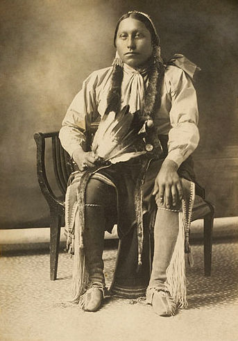 An old photograph of a Comanche Man 1900.
