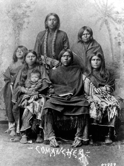 An old photograph of Comanche Indians.