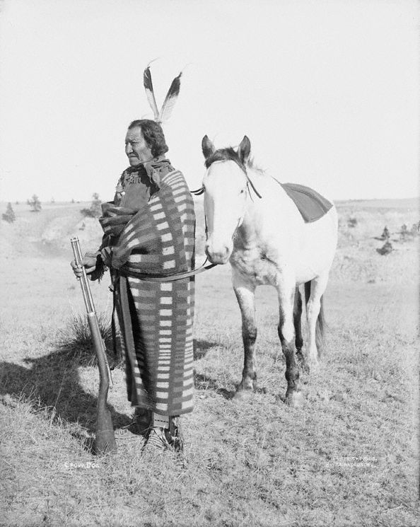 An old photograph of Crow Dog aka Sunka-Kangi - Brule Sioux Chief c1898.