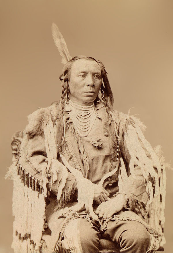An old photograph of Crow Man aka King Crow or Old Crow - Crow Nation 1880 [A].