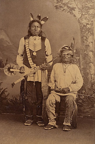 An old photograph of Crow Man and Running Bear - Sioux.