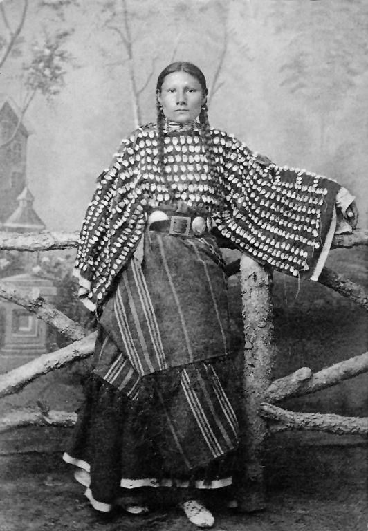 An old photograph of the Daughter of Black Short Nose - Southern Cheyenne 1890.