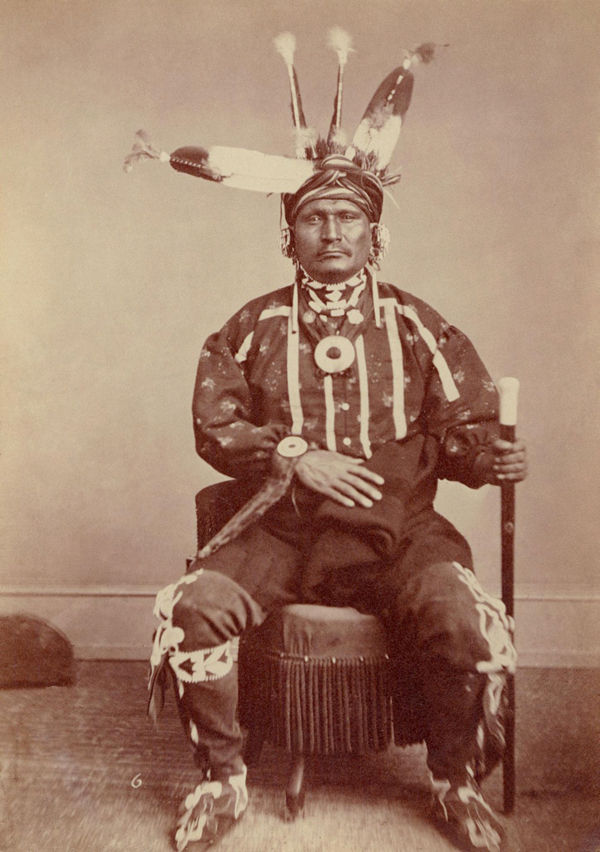 An old photograph of Deer Ham aka Tah-ra-kee - Iowa 1869.