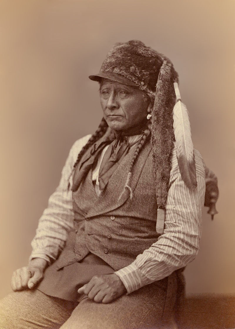 An old photograph of E-Gus-Pah aka Bull Head - Arikara 1874.