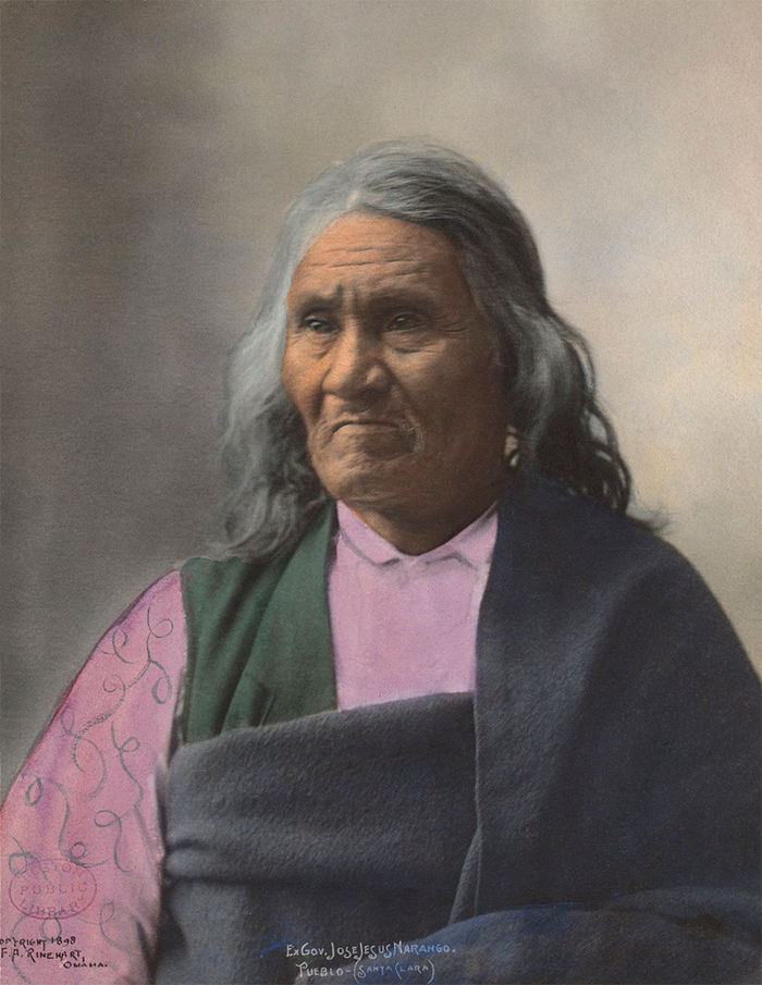An old photograph of Ex Govenor, Jose Jesus Narango - Pueblo Santa Clara 1898 [Colorized].